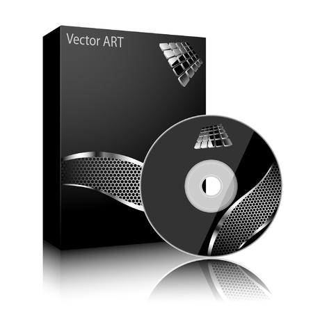 소프트웨어 블랙 박스와 흰색 배경에 고립 된 디스크. 벡터.