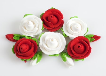 jelly head: Sweet roses flower on white background. Stock Photo