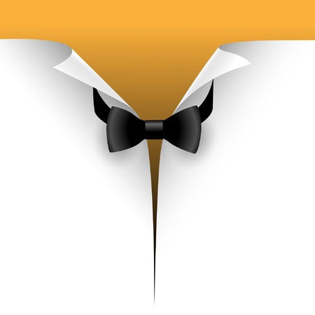 tux: Illustration of the cut paper with a bow tie. Vector.
