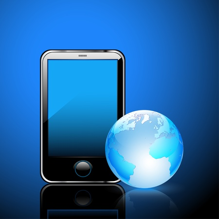 Illustration of a smart phone and globe of the Earth, a dark blue background. Vector. Vector