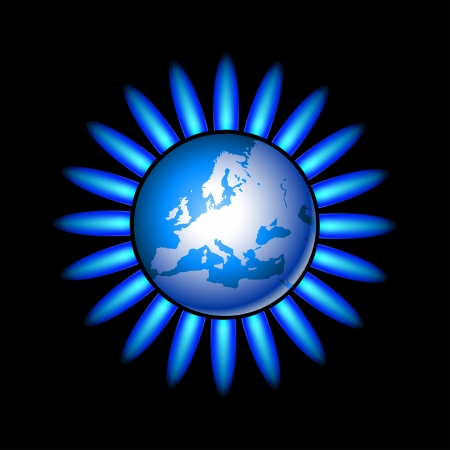 gas flame: Illustration of Earth and a natural gas flame. Vector.  Illustration
