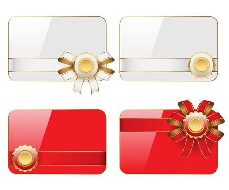 dressy: Cards with ribbons isolated on white background  Vector