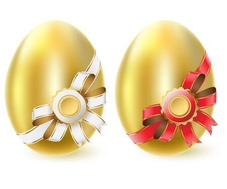 Golden chicken eggs isolated on white background  Vector  Vector