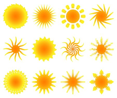 Illustration of set of sun, on a white background. Vector. Vector