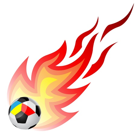 Soccer ball with fire isolated on a white background. Ball to the flags of Ukraine and Poland. Vector. Stock Vector - 12939944