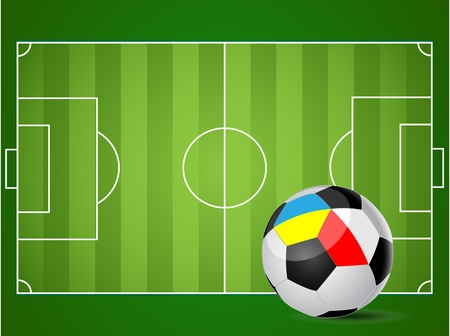 Illustration of a football field. Ball to the flags of Ukraine and Poland. Vector. Vector