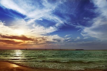 persian gulf: Summer sunset by the Persian Gulf.