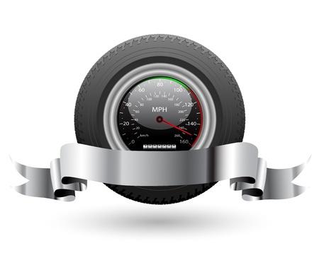 neumaticos: Ilustraci�n de un veloc�metro con un neum�tico de auto y Vector bandera Vectores