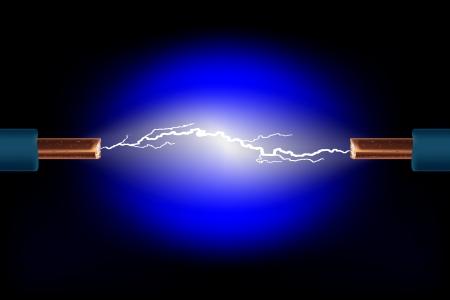 descarga electrica: Cable el�ctrico con chispas en un vector de fondo negro