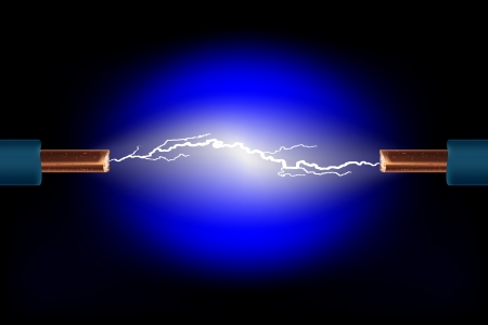 Electric cable with sparks on a black background  Vector