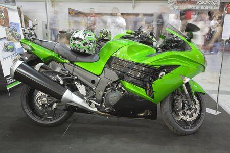 KIEV, UKRAINE - APRIL 29: A new Kawasaki zzr1400 sport motorbike is on display at the International Specialized Exhibition,