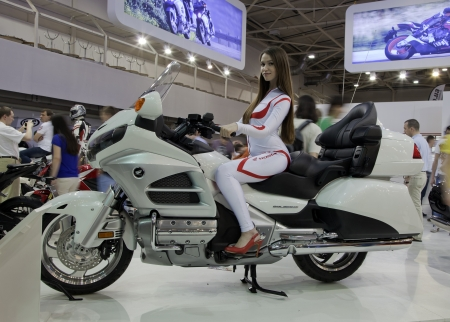 KIEV, UKRAINE - APRIL 29: A new Honda goldwing motorbike is on display at the International Specialized Exhibition, 'Motobike 2012,' on April 29, 2012 in Kiev, Ukraine.