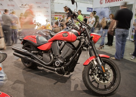 KIEV, UKRAINE - APRIL 29: A new Victory Hammer sport motorbike is on display at the International Specialized Exhibition,