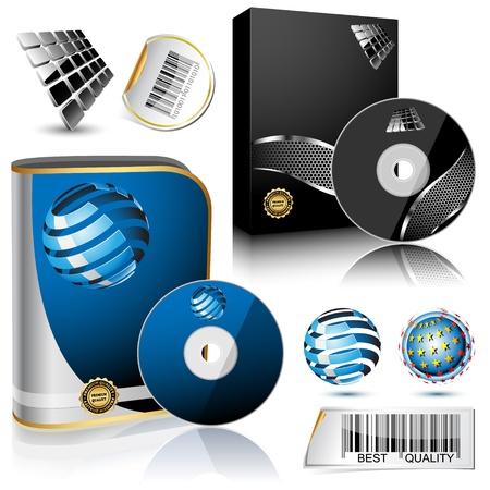 ic�ne logiciel: Bo�te de logiciel et le disque isol� sur fond blanc Illustration