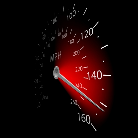 Illustration of the speedometer on dark background. Vector. Vettoriali