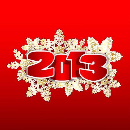 Christmas illustration on red background   Illustration