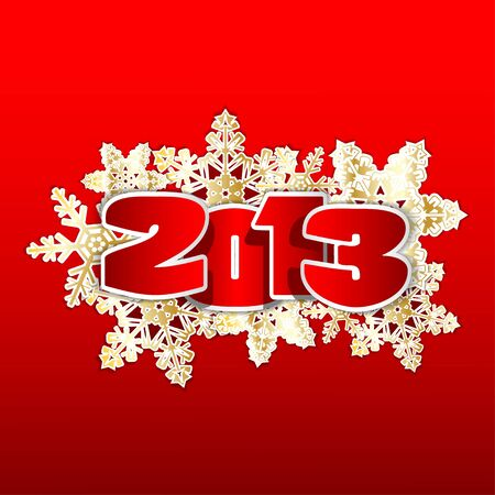happy new year banner: Christmas illustration on red background   Illustration