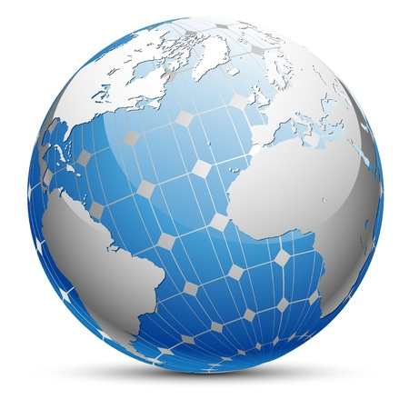 save planet: Abstract illustration of the planet Earth with a solar panel.