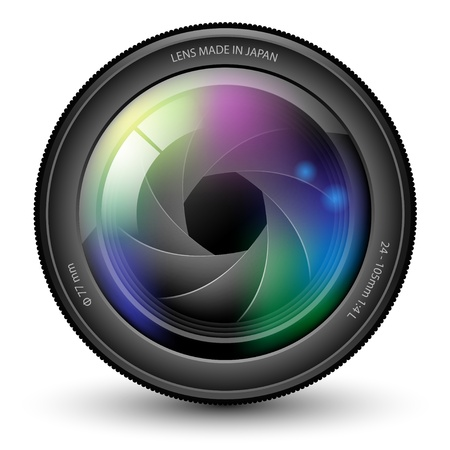 photo equipment: Illustration of camera lens isolated on a white background.