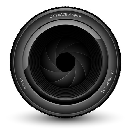 Illustration of camera lens isolated on a white background.  Vector