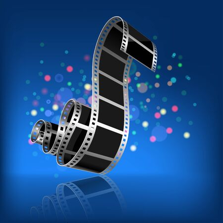 Film on a dark blue background  Vector   Illustration