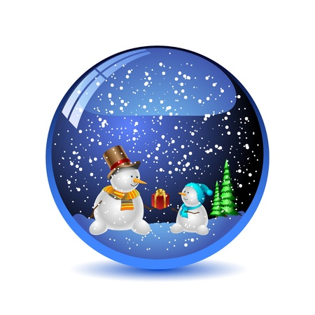 new year's cap: Illustration snow globe with a christmas tree and snowman Illustration