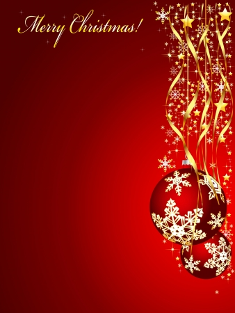 Christmas illustration on a red background  Vector