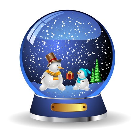 red sphere: Illustration snow globe with a christmas tree and snowman  Illustration