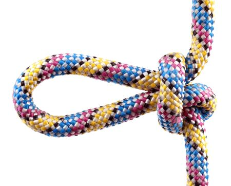 Rope with knot close isolated on white background photo