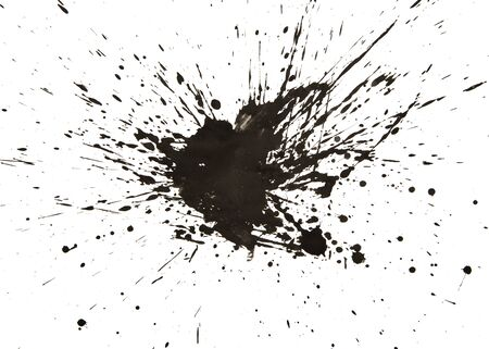 multiple stains: Black watercolor splashes on white