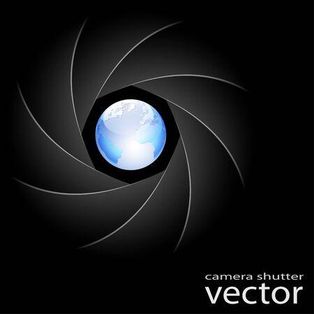 camera lens: Illustration of camera shutter and planet Earth on black background. Vector. Illustration