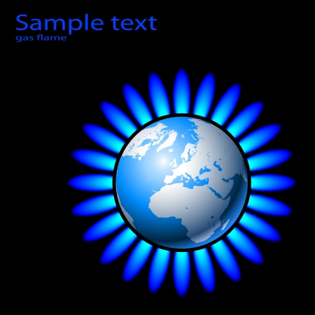 propane: Illustration of Earth and a natural gas flame. Vector.  Illustration