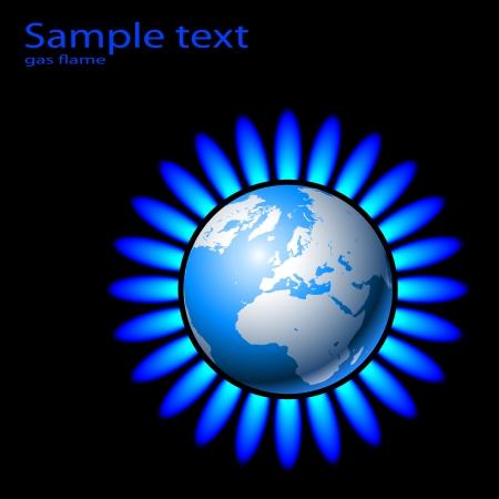 gas flame: Illustrazione della Terra e una fiamma a gas naturale. Vector. Vettoriali