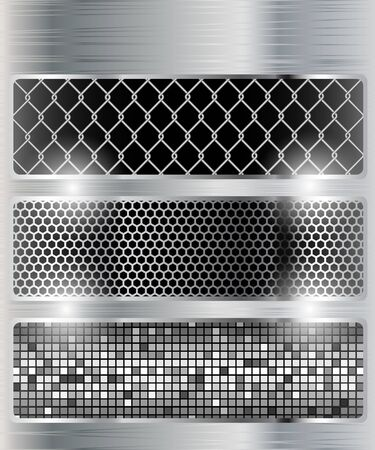 Illustration of a metal background. Set. Vector. Vector