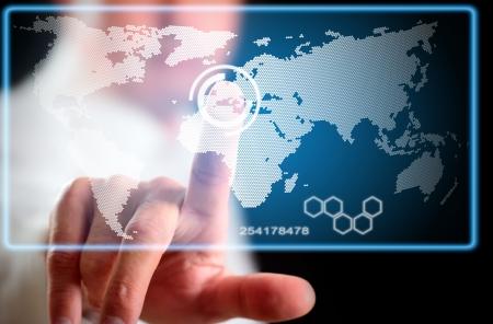 Mensch und Computer-Display-Technologie der Zukunft. Lizenzfreie Bilder