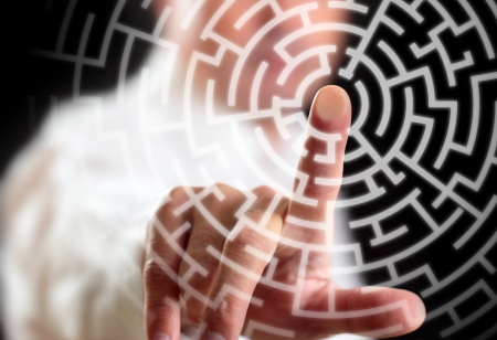 labyrinth: Man and way to success. Stock Photo