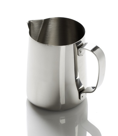 metal cup with a spout on a white background