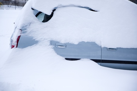 snow covered car photo