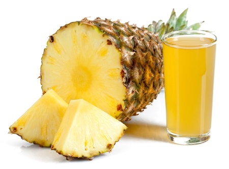 pineapple  glass: glass of juice and pineapple isolated on white background Stock Photo