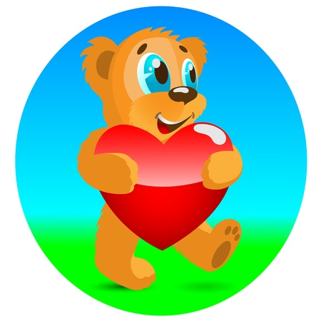 Happy bear with red heart. Stock Vector - 17230291