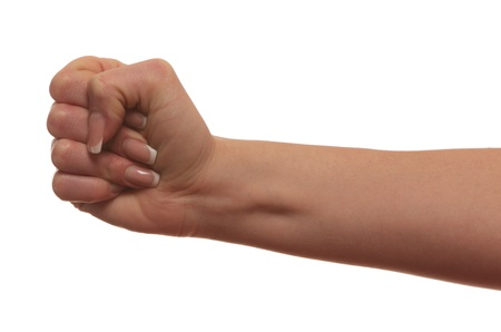 covetous: fist  hand, isolated on white background  Stock Photo