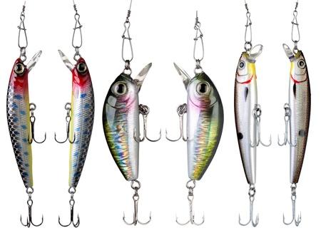 lure: Fishing baits isolated on white background. Set.