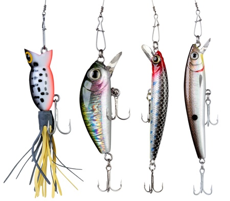 fishing bobber: Fishing baits isolated on white background. Set.
