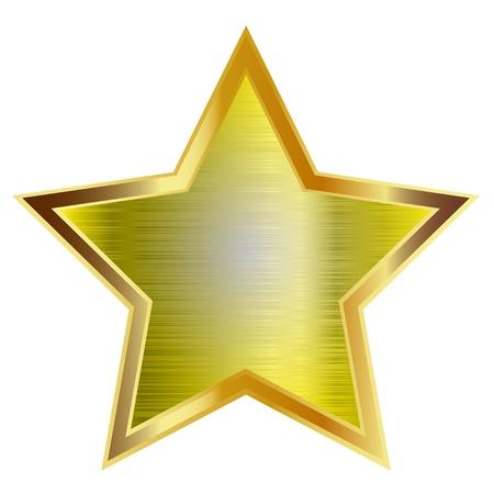 etoile or: Gold star isol� sur fond blanc. Vecteur.