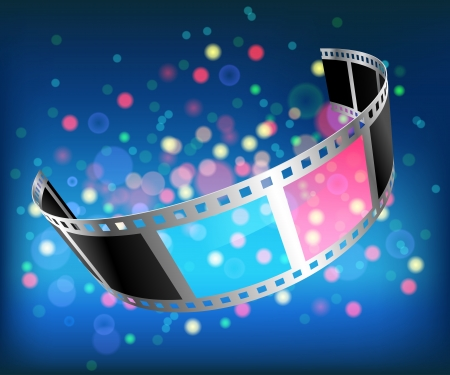 3d film: Illustration 3D Glasses. Film on a blue background. Vector.  Illustration