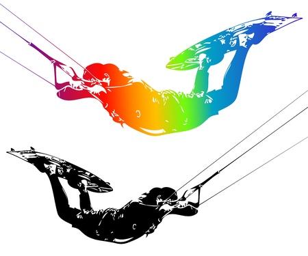kite surfing: Illustratie ruiter geïsoleerd op een witte achtergrond. Vector. Stock Illustratie