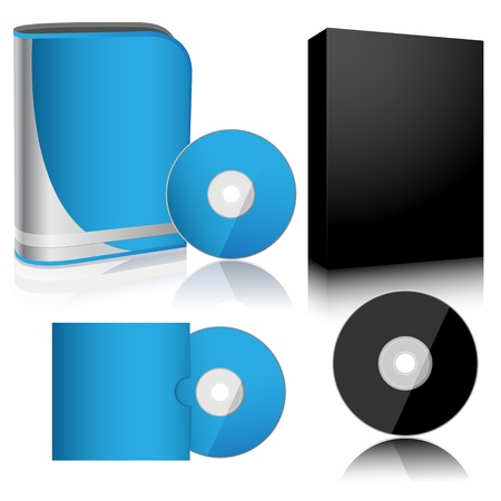 Illustration software box and disc isolated on white background. Vector.