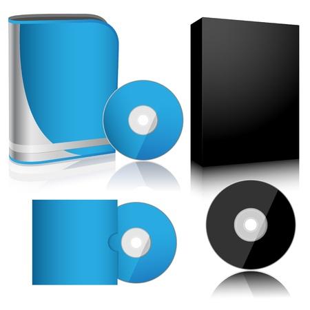 Illustration Software-Box und Disc auf weißem Hintergrund. Vector.