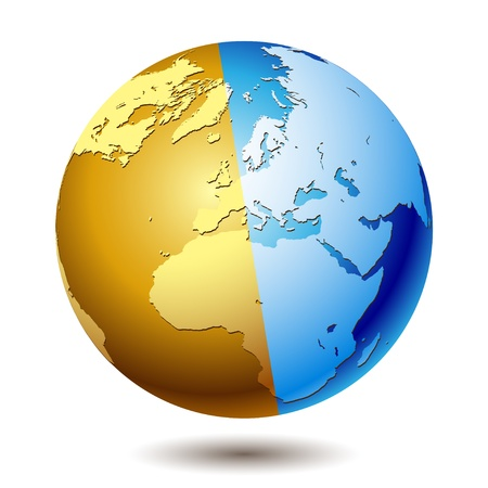 island state: Planet earth isolated on a white background. Illustration, vector.