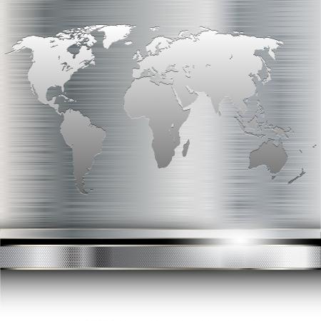 금속 배경에 세계지도의 그림입니다. 벡터.